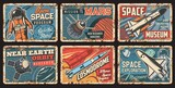Space rockets and planets plates rusty metal, galaxy exploration, vector vintage posters. Spaceman flights program, cosmodrome museum, satellites or spacecraft and orbital station launch mission
