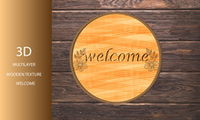 """3d Multilayer Floral Wooden Texture """"welcome"""" Illustration Graphic. Orange Maroon Colorful, Modern, Gorgeous, 3d Wall Decoration, Home Decoration, Gift,"""