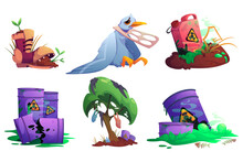 Nature Pollution, Environment Contamination With Toxic Wastes And Plastic. Sprouts Grow In Old Boot, Trash Hang On Tree, Unhappy Bird Stuck In Garbage, Barrels With Poisonous Liquid Cartoon Vector Set