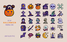 Halloween Line Filled Icon Style Vector Set. Spooky And Horror Scary Concept Celebration Isolated On Dark Background