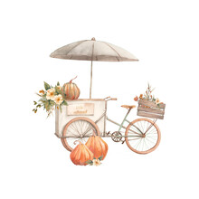 Hello Autumn Card. Harvest Festival Illustration Isolated On White Background. Vintage Truck With Pumpkins, Flowers