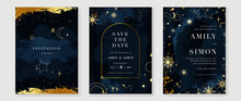 Star And Moon Themed Wedding Invitation Vector Template Collection. Gold And Luxury Save The Dated Card With Watercolor And Gold Sparkles And Brush Texture. Starry Night Cover Design Background.