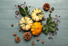 Autumn Composition With Different Pumpkins, Pine Cones And Leaves On Dark Wooden Background