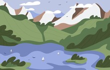 Summer Landscape Of Scenic Nature With Mountain Ridge, Hills, Green Grass And Water. Scenery With Lake And Boats, Rocks, Sky Horizon With Birds And Clouds. Colored Flat Vector Illustration
