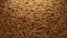 Timber, Soft Sheen Mosaic Tiles Arranged In The Shape Of A Wall. Wood, 3D, Blocks Stacked To Create A Hexagonal Block Background. 3D Render