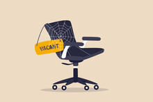 Labor Shortage, Worker Needed Not Enough Skill Staff To Fill In Job Vacancy, Help Wanted Or Employment Demand Concept, Office Chair With Sign Vacant Covered By Spider Web Metaphor Of Labor Shortage.