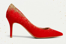Women's Elegant Red High Heel Shoes With Glitter Formal Fashion