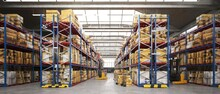 3d Render Pf Warehouse Interior. Commercial Building For Storage Of Goods.