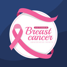 Breast Cancer Awareness Month Text On White Circle Banner With Pink Ribbon Roll Around On Blue Texture Background Vector Design
