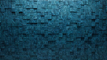 Polished, Glazed Mosaic Tiles Arranged In The Shape Of A Wall. Blue Patina, Square, Bricks Stacked To Create A 3D Block Background. 3D Render