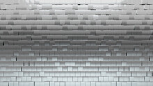 3D, Polished Mosaic Tiles Arranged In The Shape Of A Wall. Silver, Square, Bullion Stacked To Create A Glossy Block Background. 3D Render