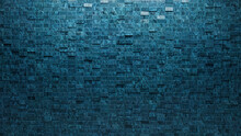 Rectangular, 3D Mosaic Tiles Arranged In The Shape Of A Wall. Glazed, Blue Patina, Bricks Stacked To Create A Polished Block Background. 3D Render