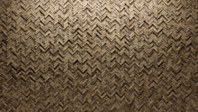 Herringbone, Semigloss Mosaic Tiles Arranged In The Shape Of A Wall. Polished, Natural Stone, Bricks Stacked To Create A 3D Block Background. 3D Render