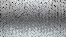 Herringbone, Glossy Mosaic Tiles Arranged In The Shape Of A Wall. Polished, 3D, Bullion Stacked To Create A Silver Block Background. 3D Render