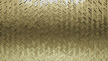 Polished, 3D Mosaic Tiles Arranged In The Shape Of A Wall. Herringbone, Glossy, Bullion Stacked To Create A Gold Block Background. 3D Render