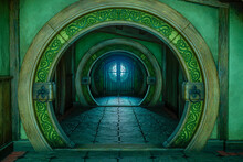 3D Rendering Of A Medieval Fantasy House Hallway With Round Arches.