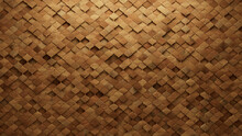 3D, Arabesque Mosaic Tiles Arranged In The Shape Of A Wall. Wood, Soft Sheen, Blocks Stacked To Create A Timber Block Background. 3D Render