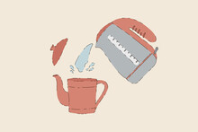 Vector Illustration Of Tea Time. A Picture Of The Process Of Brewing Tea. Brewing Tea In A Teapot. Hot Water. Have A Nice Tea Party. Vector Illustration