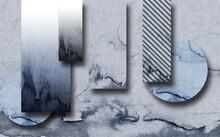 3d Illustration, Gray Marble Geometric Shapes For Decor