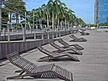 Sun Bath, Sun Tan Solution, Leaning Chair Wooden, Marina Singapore
