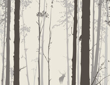 Vector Background With A Picture Of A Forest And A Deer. Neutral Colors.