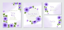 Hand Drawn Wedding Invitation Set With Beautiful Purple Morning Glory Flower And Leaves
