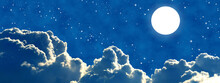 Bright Shining Full Moon Above Big Friendly Clouds And A Sky Full Of Stars. Quiet-looking Atmosphere Of A Good Night.