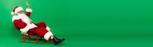 Santa In Hat Waving Hand On Sleigh On Green Background, Banner