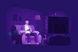Young man sitting on the couch and playing video games on game console. Gaming night. Home leisure. Vector illustration.