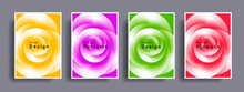 Set Of Gentle Flower Aroma Posters With Abstract Rose Blossom Creating Light White Shape On Bright Backdrops