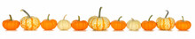 Fall Border Arrangement Of Orange, White And Striped Pumpkins. Side View Row Isolated On A White Background.