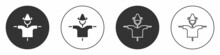 Black Scarecrow Icon Isolated On White Background. Circle Button. Vector