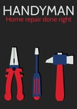 Composition of handyman text over tools icons on black background