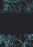 Composition of multiple flower icons on black background