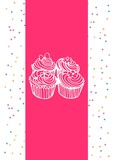 Composition of cupcake icons and colourful squares on white background