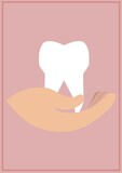 Composition of tooth and hand icons on pink background