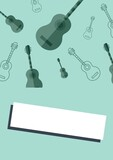 Composition of multiple guitars icons on green background