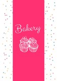 Composition of bakery text and cupcake icons on white and pink background