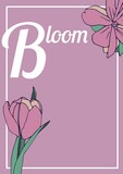 Composition of bloom text over flower icons on pink background