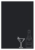 Composition of drink and bottle icons on black background