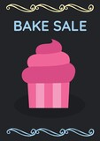 Composition of bake sale text and cupcake icon on black background