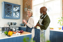 Happy Senior Diverse Couple In Kitchen Cooking Together, Wearing Apron