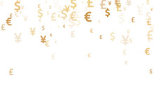 Euro Dollar Pound Yen Gold Icons Scatter Money Vector Illustration. Business Backdrop. Currency
