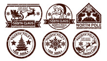 Christmas Mail Stamp, Vector Santa Claus Postage, North Pole Vintage Postal Sign Isolated On White. X-mas Grunge Postcard Label, Holiday Correspondence Print, Reindeer Silhouette. Christmas Ink Stamp