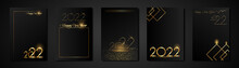 Set Cards 2022 Happy New Year Gold Texture, Golden Luxury Black Modern Background, Elements For Calendar And Greetings Card Or Christmas Themed Winter Holiday Invitations With Geometric Decorations