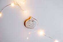 DIY Halloween Gingerbread Cookie. Step 3, On White Base, Draw Pumpkin Counter With Pencil.