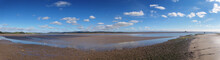 Panoramic View Of The Beach At Canal Foot In Ulverston With A View Of The Beach A River Leven With Morecambe Bay In The Distance