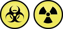 Vector Illustration Of Radioactive And Biohazard Signs With Yellow And Black Circle Background