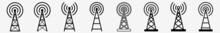 Antenna Tower Icon Communication Antenna Tower Set   Antenna Tower Icon Radio Vector Illustration Logo   Antenna Tower-Icon Isolated Antenna-Tower Collection