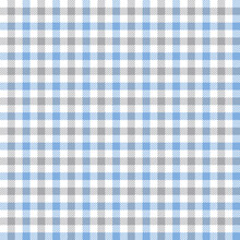Blue And Gray Checkered Plaid. Tattersall Pattern Fabric Swatch.